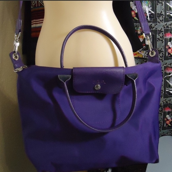 Grape Purple Longchamp Tote Purse Bag GUC
